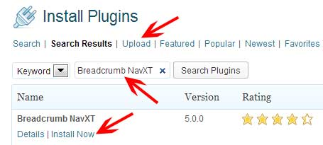 Search and install the breadcrumb plugin in WordPress
